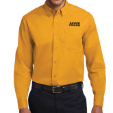 Gold Twill Button Down Long Sleeve-Xavier Proud
