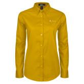 Ladies Gold Twill Button Down Long Sleeve-XULA Wordmark