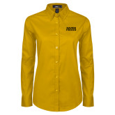 Ladies Gold Twill Button Down Long Sleeve-Xavier Proud