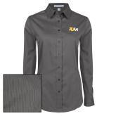Ladies Grey Tonal Pattern Long Sleeve Shirt-XULA Wordmark
