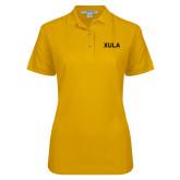 Ladies Easycare Gold Pique Polo-XULA