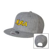 Heather Grey Wool Blend Flat Bill Snapback Hat-XULA Wordmark