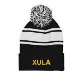 Black/White Two Tone Knit Pom Beanie w/Cuff-XULA