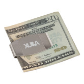Dual Texture Stainless Steel Money Clip-XULA with Louisiana Horizontal Engraved