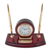 Executive Wood Clock and Pen Stand-Xavier Seal Horizontal Engraved