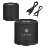 Wireless HD Bluetooth Black Round Speaker-Xavier Seal Vertical Engraved