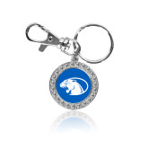 Crystal Studded Round Key Chain-Panther Head
