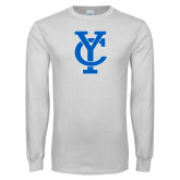 White Long Sleeve T Shirt-Interlocking YC