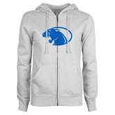 ENZA Ladies White Fleece Full Zip Hoodie-Panther Head