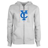 ENZA Ladies White Fleece Full Zip Hoodie-Interlocking YC