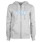 ENZA Ladies White Fleece Full Zip Hoodie-York