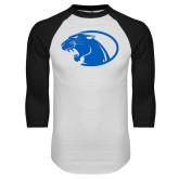 White/Black Raglan Baseball T Shirt-Panther Head