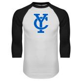 White/Black Raglan Baseball T Shirt-Interlocking YC