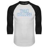 White/Black Raglan Baseball T Shirt-York College