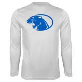Performance White Longsleeve Shirt-Panther Head