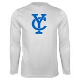 Performance White Longsleeve Shirt-Interlocking YC