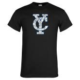 Black T Shirt-Interlocking YC Distressed