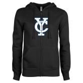 ENZA Ladies Black Fleece Full Zip Hoodie-Interlocking YC