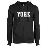 ENZA Ladies Black Fleece Full Zip Hoodie-York