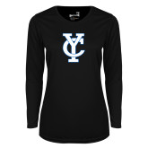 Ladies Syntrel Performance Black Longsleeve Shirt-Interlocking YC