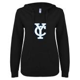 ENZA Ladies Black V Notch Raw Edge Fleece Hoodie-Interlocking YC