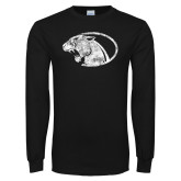 Black Long Sleeve T Shirt-Panther Head Distressed