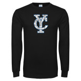 Black Long Sleeve T Shirt-Interlocking YC Distressed