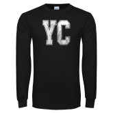 Black Long Sleeve T Shirt-YC Distressed