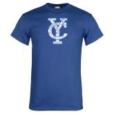 Royal T Shirt-Interlocking YC Distressed