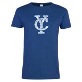 Ladies Royal T Shirt-Interlocking YC Distressed