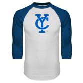 White/Royal Raglan Baseball T Shirt-Interlocking YC