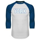 White/Royal Raglan Baseball T Shirt-York