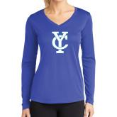 Ladies Syntrel Performance Royal Longsleeve Shirt-Interlocking YC