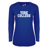 Ladies Syntrel Performance Royal Longsleeve Shirt-York College