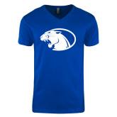 Next Level V Neck Royal T Shirt-Panther Head