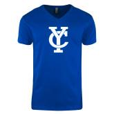 Next Level V Neck Royal T Shirt-Interlocking YC