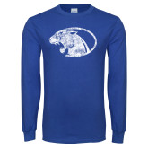 Royal Long Sleeve T Shirt-Panther Head Distressed