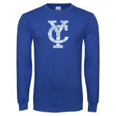 Royal Long Sleeve T Shirt-Interlocking YC Distressed