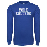Royal Long Sleeve T Shirt-York College Distressed