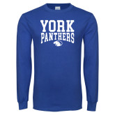 Royal Long Sleeve T Shirt-York Panthers over Panther Head