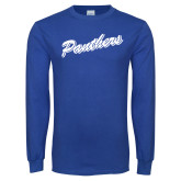 Royal Long Sleeve T Shirt-Panthers Script