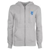 ENZA Ladies Grey Fleece Full Zip Hoodie-Interlocking YC