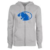 ENZA Ladies Grey Fleece Full Zip Hoodie-Panther Head