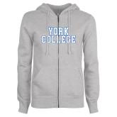 ENZA Ladies Grey Fleece Full Zip Hoodie-York College