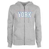 ENZA Ladies Grey Fleece Full Zip Hoodie-York