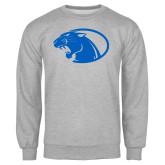 Grey Fleece Crew-Panther Head