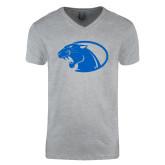 Next Level V Neck Heather Grey T Shirt-Panther Head