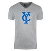 Next Level V Neck Heather Grey T Shirt-Interlocking YC