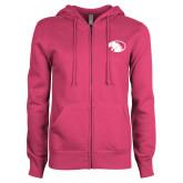 ENZA Ladies Fuchsia Fleece Full Zip Hoodie-Panther Head