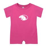 Bubble Gum Pink Infant Romper-Panther Head
